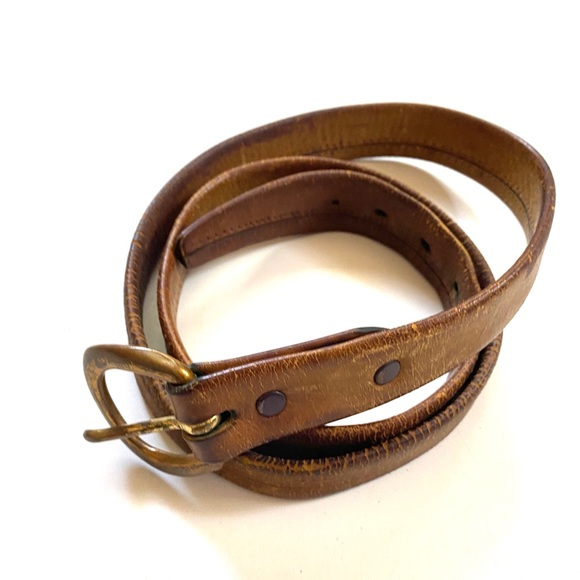 "Vintage Distressed Leather Bronze Buckle Belt 40"""